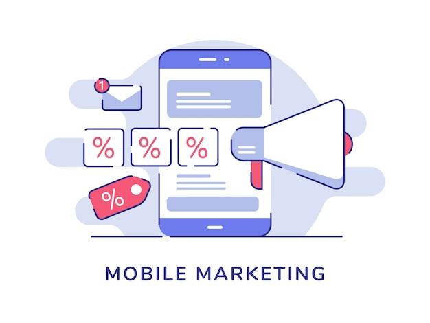 Mobile marketing concept mégaphone pour cent de vente sur l'écran du smartphone d'affichage avec style de contour plat