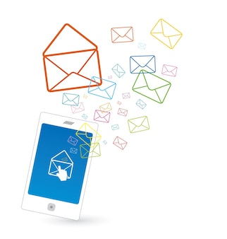 Mobile avec le marketing par courriel sur fond blanc