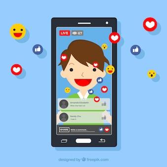 Mobile à plat avec notifications facebook et emojis