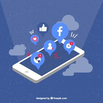 Mobile à plat avec des notifications facebook