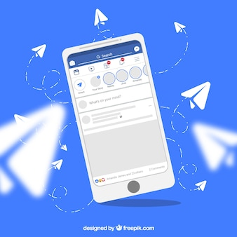 Mobile à plat avec des notifications facebook