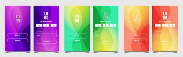 Mobile se connecter et s'inscrire avec fond coloré