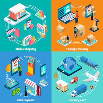 Mobile shopping isometric elements set