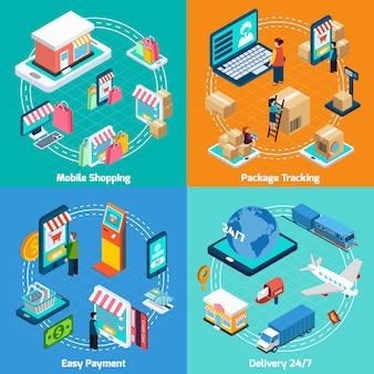 Mobile shopping isometric elements set