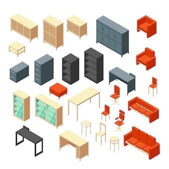 Mobilier de bureau 3d isométrique isolé