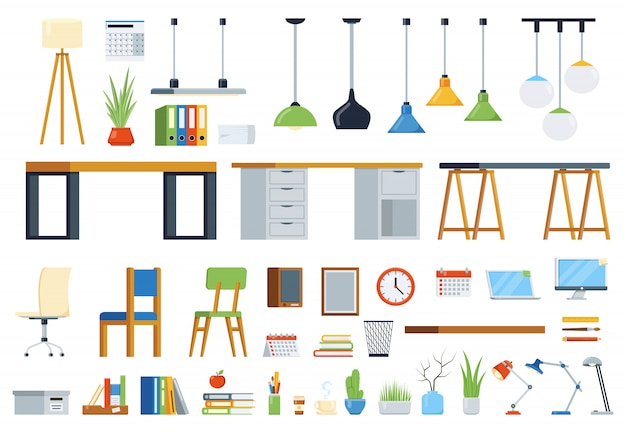 Mobilier de bureau, accessoires et plantes. kit de création de lieu de travail. ensemble d'éléments vectoriels