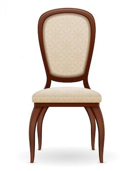 Mobilier de chaise en bois avec dossier rembourré et sièges vector illustration