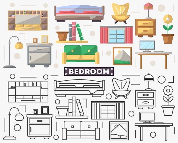 Mobilier de chambre à coucher dans un style plat