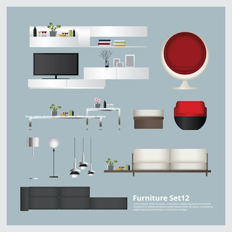 Mobilier et décoration de la maison set vector illustration