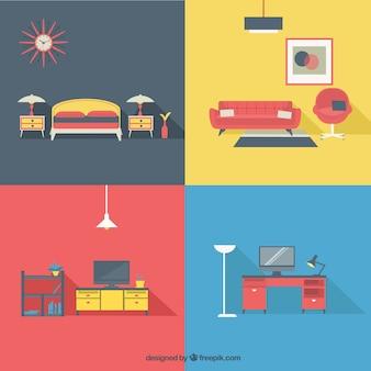 Mobilier d'habitation dans un style moderne