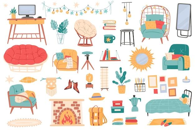 Mobilier d'intérieur. accessoires de salon et éléments de décoration, objets d'appartements modernes et confortables, design tendance à la maison, intérieur de la maison. ensemble de vecteurs