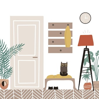 Mobilier scandinave intérieur confortable avec couloir porte fermée avec plantes en pot et dessin animé plat chat