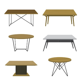 Mobilier table en bois isolé vector