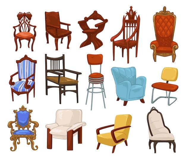 Mobilier vintage et rétro, fauteuils et chaises isolés, sièges et tabourets pour s'asseoir. design en bois et tissu doux, canapé confortable et confortable. décoration classique pour la maison. vecteur dans un style plat