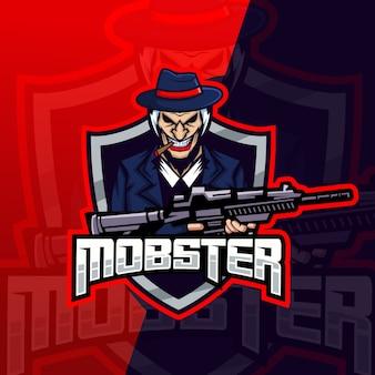 Mobster gangster mascotte esport logo