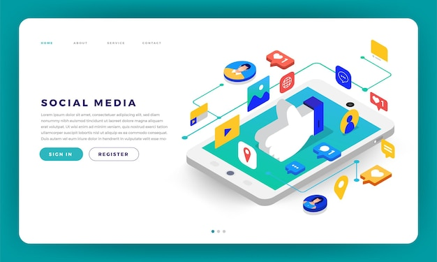 Mock-up design site web design plat application mobile de médias sociaux
