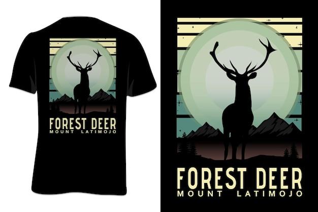 Mock up t-shirt forest deer mount retro vintage style