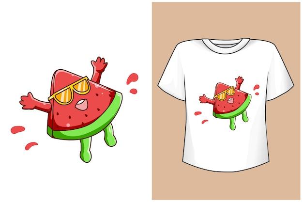 Mockup pastèque drôle en été