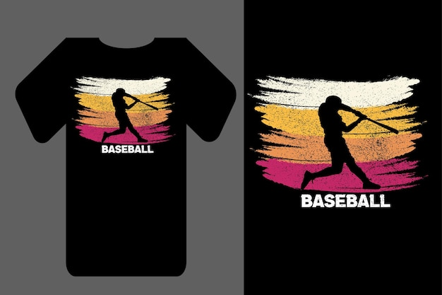 Mockup t-shirt silhouette baseball rétro vintage