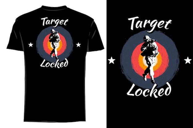 Mockup t-shirt silhouette cible verrouillé rétro vintage