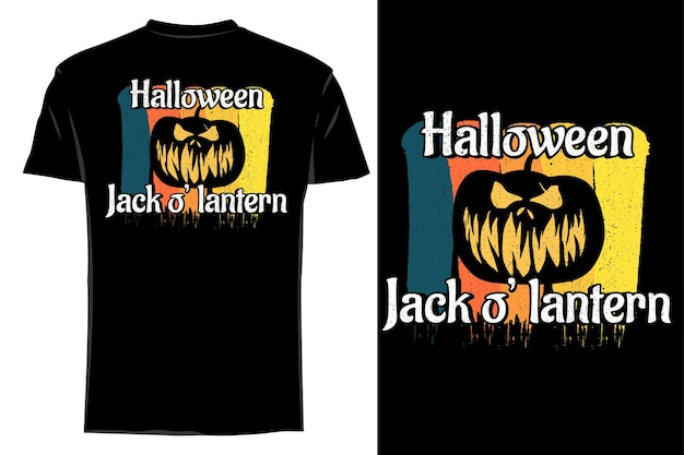 Mockup t-shirt silhouette halloween jack o' lantern rétro vintage