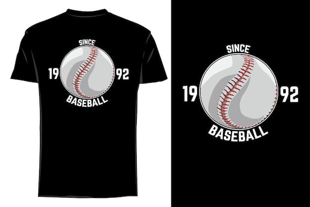 Mockup t-shirt vecteur balle de baseball rétro vintage