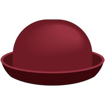 Mode chapeau melon femme plat isolé sur blanc. casquette fedora vintage pour femme isolée sur fond blanc. illustration d'accessoire de chapellerie en feutre
