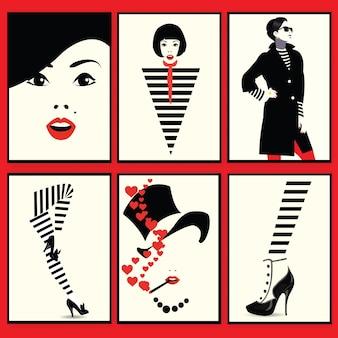 Mode femme, chaussures et jambes dans le style pop art. illustration vectorielle