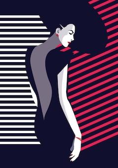 Mode et femme élégante dans un style pop art.