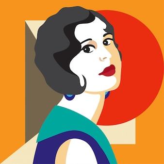Mode femme portrait style art déco. design plat.