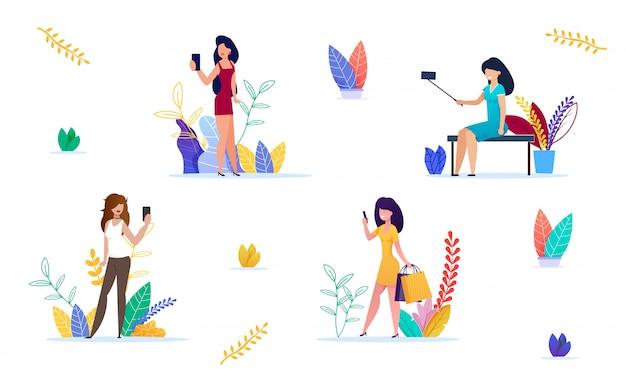 Mode femme prenant selfie ensemble