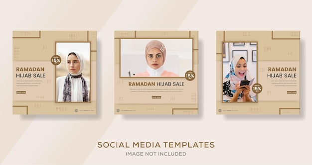 Mode hijab femme musulmane pour le ramadan mubarak vente bannière modèle post