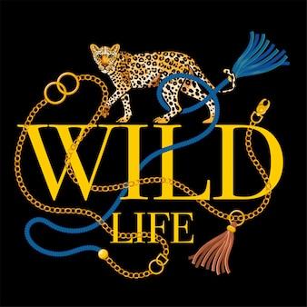 Mode imprimé riche tendance avec lettrage faune sauvage léopard brodé et chaîne en or