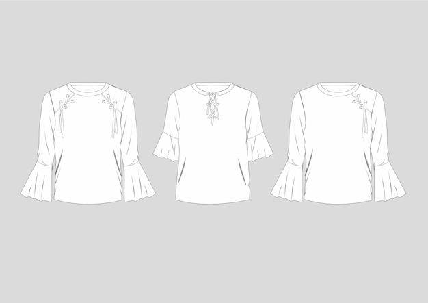 Mode à lacets chemisiers détaillés isolé ensemble technique dessiné