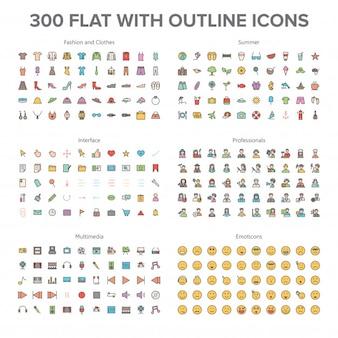 Mode, multimédias, été, professionnels et émoticônes 300 plat avec icônes d'aperçu bundl