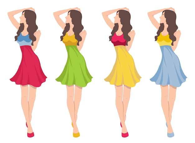 Mode sexy emblème de fille illustration dans des robes différentes