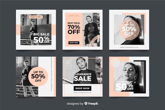 Mode vente médias sociaux bannière collectio