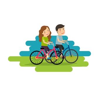 Mode de vie actif, les gens font du vélo