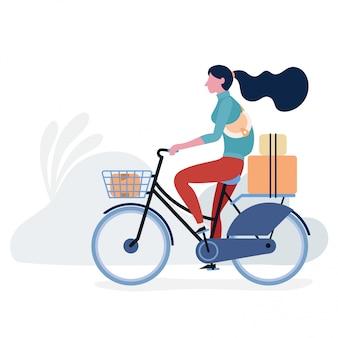 Mode de vie chez les adolescentes avec dessin illustration vélo