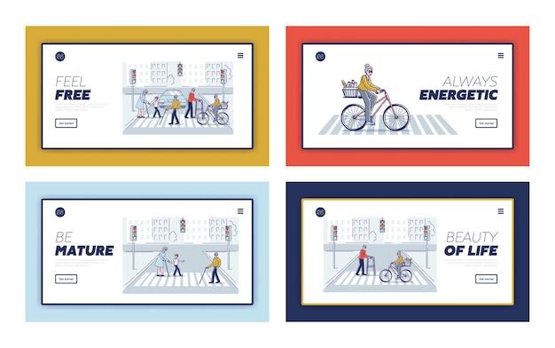 Mode de vie des personnes âgées sertie d'hommes et de femmes âgés marchant dans la ville moderne ou à vélo