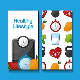 Mode de vie sain bannières verticales sport nourriture nutrition