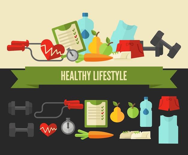 Mode de vie sain. concept de bien-être de vecteur
