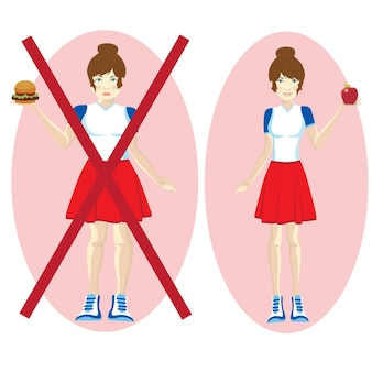 Mode de vie sain et malsain. avant après corps de fille, figure de jeune femme grasse et mince, nourriture, fitness, régime alimentaire.