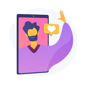 Mode de vie de vlog. blogage vidéo, interaction avec les médias sociaux, plateforme de communication numérique. joyeux vlogger, salutation d'influenceur, geste de la main. illustration de métaphore de concept isolé de vecteur