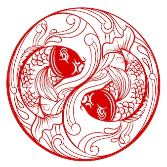 Mode ying yang chinois avec poisson