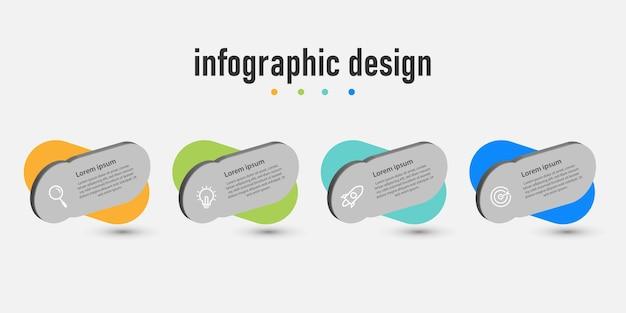 Modèle 3d d'infographie d'entreprise de présentation d'étapes avec 4 options