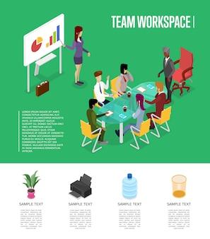 Modèle 3d isométrique de l'espace de travail d'équipe