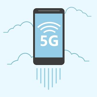 Modèle 5g avec smartphone volant. technologie web mobile à haute vitesse. illustration vectorielle.