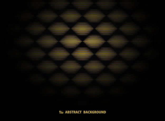 Modèle abstrait art déco en or sur fond noir.