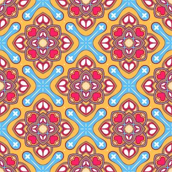 Modèle abstrait de belle nature colorée avec des fleurs et des coeurs